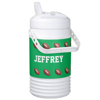 Personalized Beverage Cooler Football Green