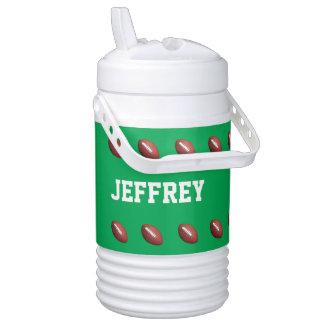 Personalized Beverage Cooler Football Green Igloo Beverage Dispenser