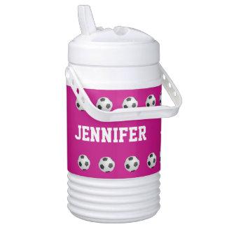 Personalized Beverage Cooler Soccer Hot Pink