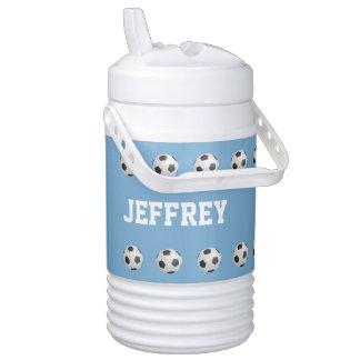 Personalized Beverage Cooler Soccer Light Blue