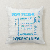 Personalized BFF best friends wordcloud chalkboard Throw Pillow