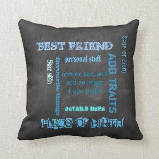 Personalized BFF best friends wordcloud chalkboard Throw Pillow