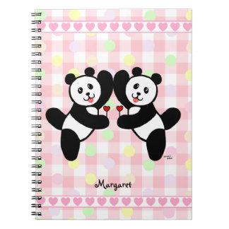 Personalized BFF Panda Friends Spiral Notebook