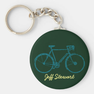 personalized bicycle basic round button keychain