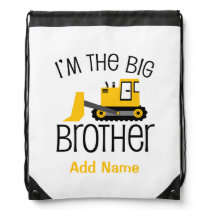 Personalized Big Brother Construction Front Loader Drawstring Backpack