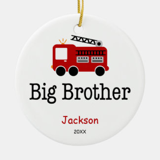 Personalized Big Brother Red Fire Truck Ceramic Ornament