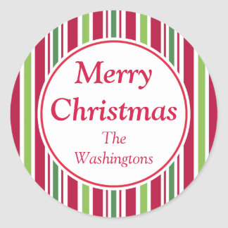 Personalized Big Candy Stripe Christmas Stickers