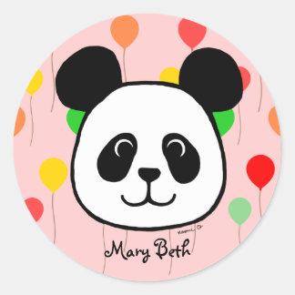 Personalized Big Face Panda Cartoon Classic Round Sticker