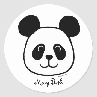 Personalized Big Face Panda Cartoon Classic Round Sticker