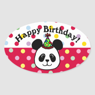 Personalized Big Face Panda Cartoon Oval Sticker