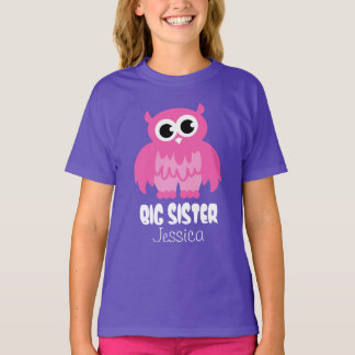 Personalized Big sister t shirt | Cute owl cartoon