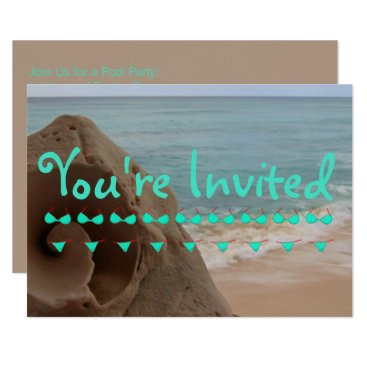 Beach Themed Personalized Bikini Beach Theme | Pool Party Card