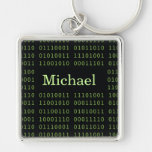 Personalized Binary Code Silver-Colored Square Keychain