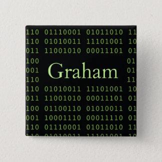 Personalized Binary Code Pinback Button