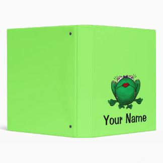 Personalized Binder, Cute Frog Cartoon 3 Ring Binder
