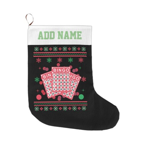 Personalized Bingo Cards Ugly Xmas Sweater Large Christmas Stocking