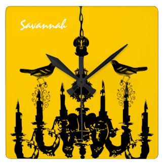 Personalized Bird Mustard Yellow Chandelier Clock