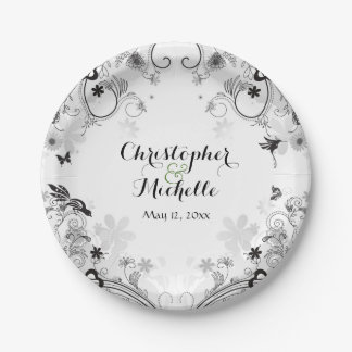Personalized Birds and Flower Garden Wedding Paper Plate