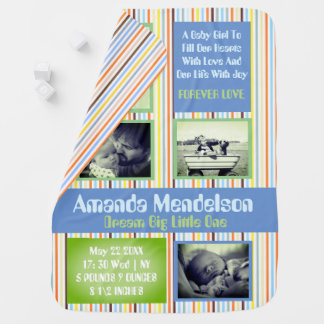 Personalized birth announcement baby stroller blanket