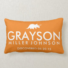 Personalized Birth Details Dinosaur Lumbar Pillow