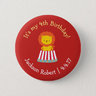 Personalized Birthday Badge- Circus Theme Pinback Button