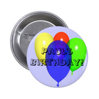 Personalized Birthday Balloons Button