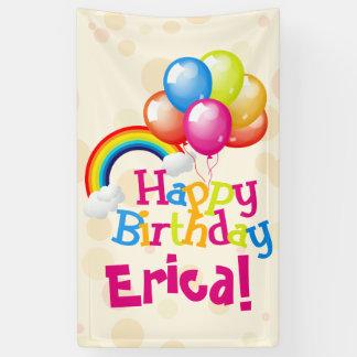 Personalized Birthday Balloons Rainbow Banner