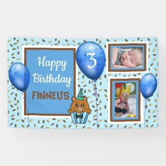 Personalized Birthday Banner for Boy's Blue