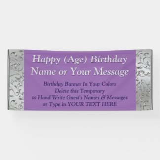 Personalized Birthday Banners, Your Text and Color Banner