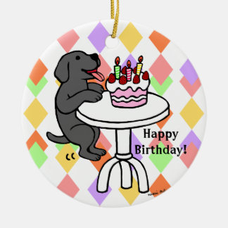 Personalized Birthday Black Labrador Cartoon Double-Sided Ceramic Round Christmas Ornament
