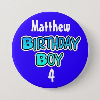 Personalized Birthday Boy Blue and Black Button