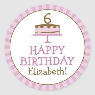 Personalized Birthday Cake Kids Birthday Stickers