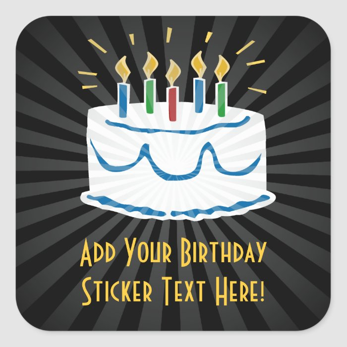 Personalized Birthday Cake Sticker or Favor Label  Zazzle