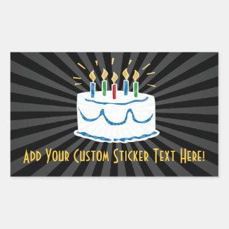 Personalized Birthday Cake Sticker or Wine Label