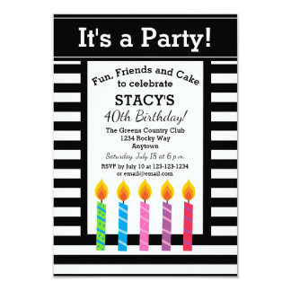 Personalized Birthday Candles Party Invitations