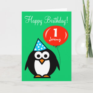Penguin cards zazzle personalized birthday card penguin with balloon m4hsunfo