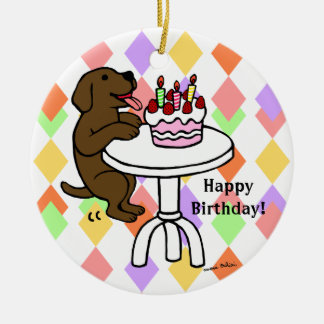 Personalized Birthday Chocolate Labrador Cartoon Double-Sided Ceramic Round Christmas Ornament