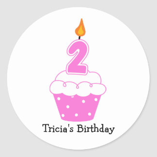 Personalized Birthday Cupcake Stickers