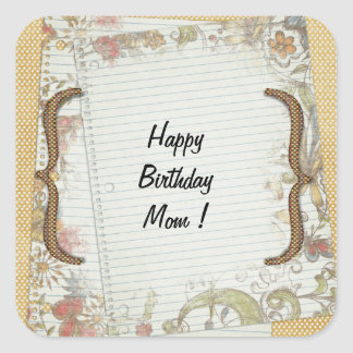 Personalized Birthday Flowers Notebook Paper Stickers
