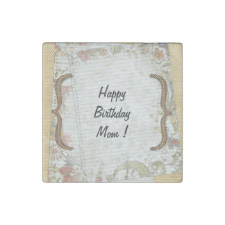 Personalized Birthday Flowers Notebook Paper Stone Magnet