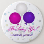 "Personalized: Birthday Girl Button<br><div class=""desc"">Cute purple,  white and pink balloons,  birthday button. Personalize by adding a name.</div>"