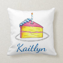 Personalized Birthday Girl Pink Yellow Cake Slice Throw Pillow