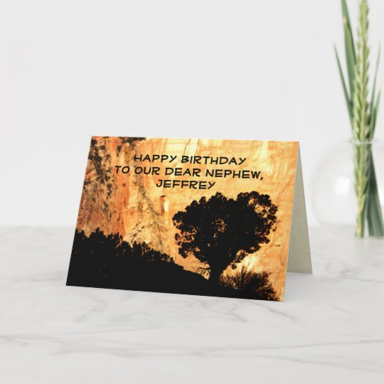 Personalized Birthday Greeting Card Nephew Tree