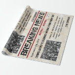 """Personalized Birthday Headline News Wrapping Paper<br><div class=""""desc"""">Make their day special with this personalizable """"Breaking News"""" newspaper design gift wrap.  Personalize the headline,  date and storyline with this fun birthday gift wrap.</div>"""