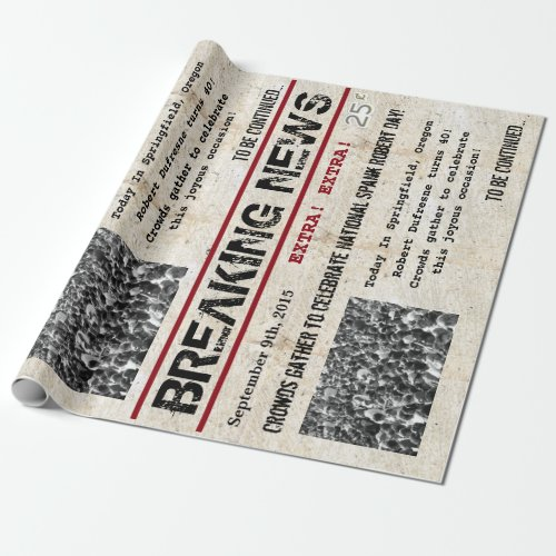 Personalized Birthday Headline News Wrapping Paper