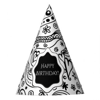 Personalized Birthday Hearts Love Doodle Pattern Party Hat