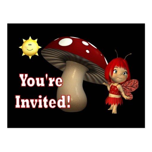 Personalized Birthday Invitation postcards fairy