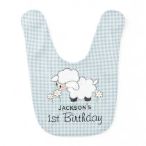 Personalized Birthday Lamb Blue Gingham Bib