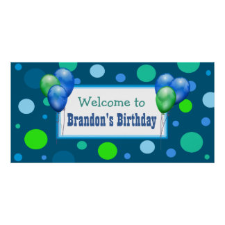 Personalized Birthday Party Banner for Boy Poster