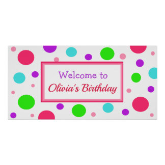 Personalized Birthday Party Banner for Girl Poster